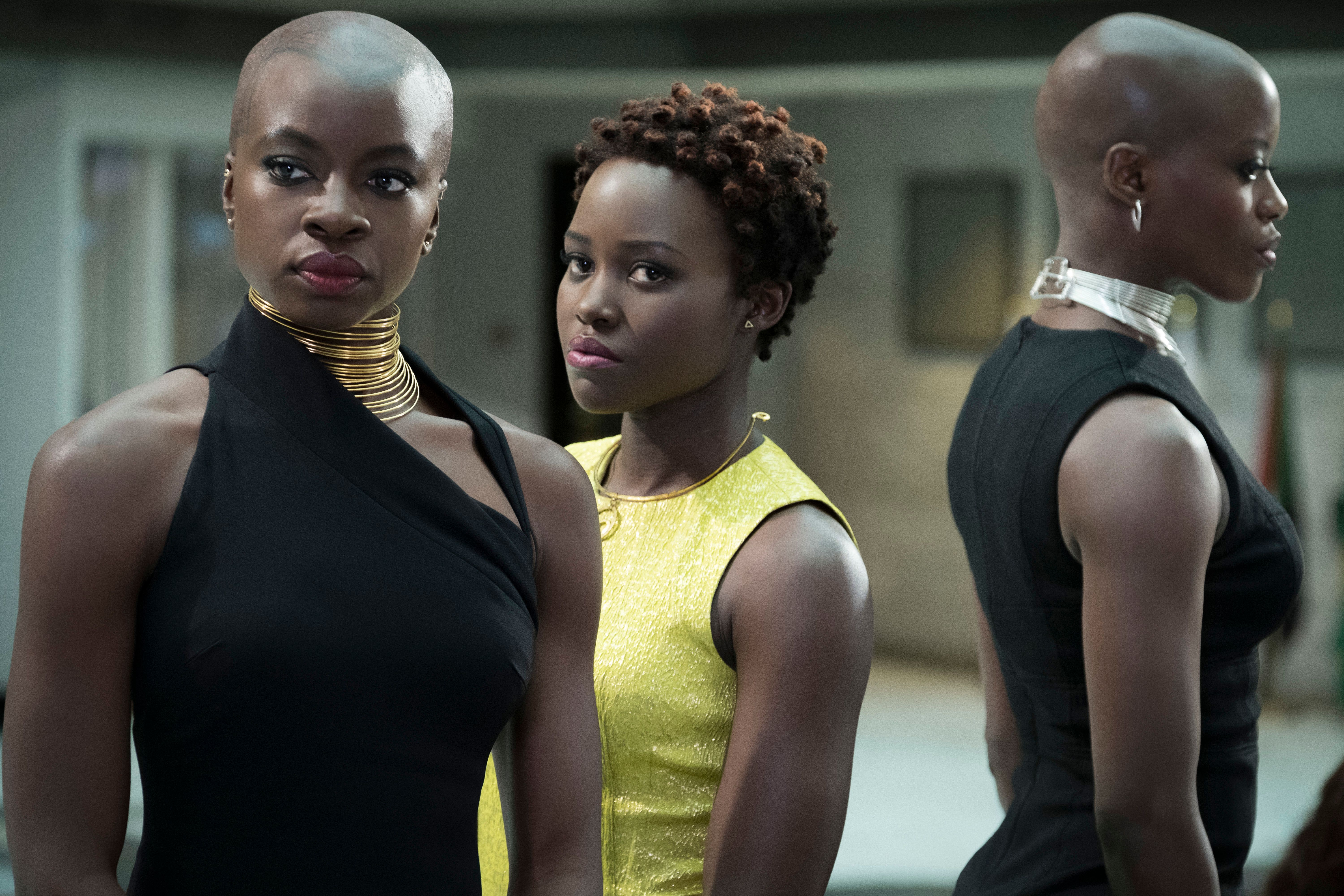 Danai Gurira Lupita Nyongo and Florence Kasumba in Black Panther