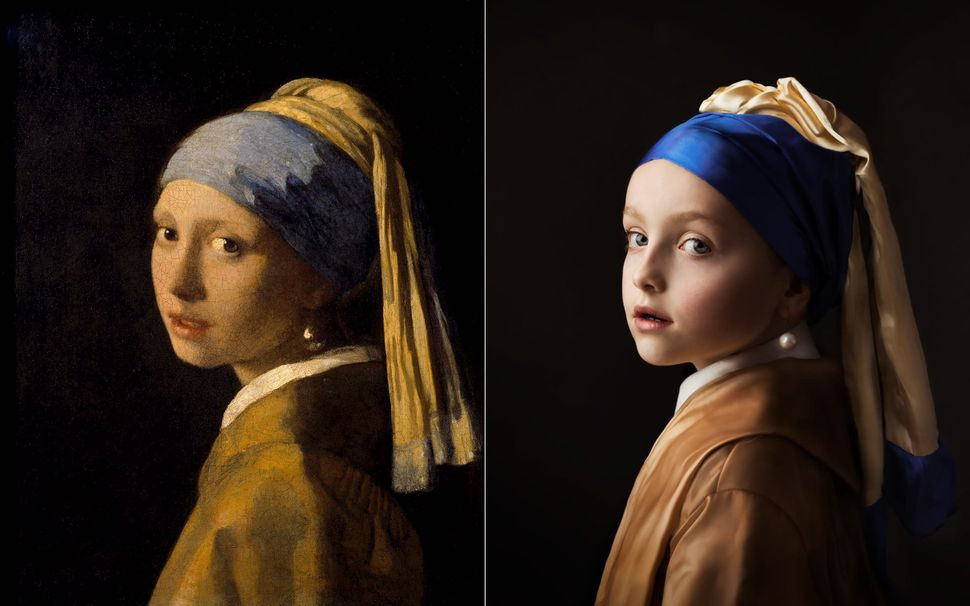 "Johannes Vermeer's painting of ""Girl with a Pearl Earring"" on the left and Woud-Binnendijk's photographic recreati"
