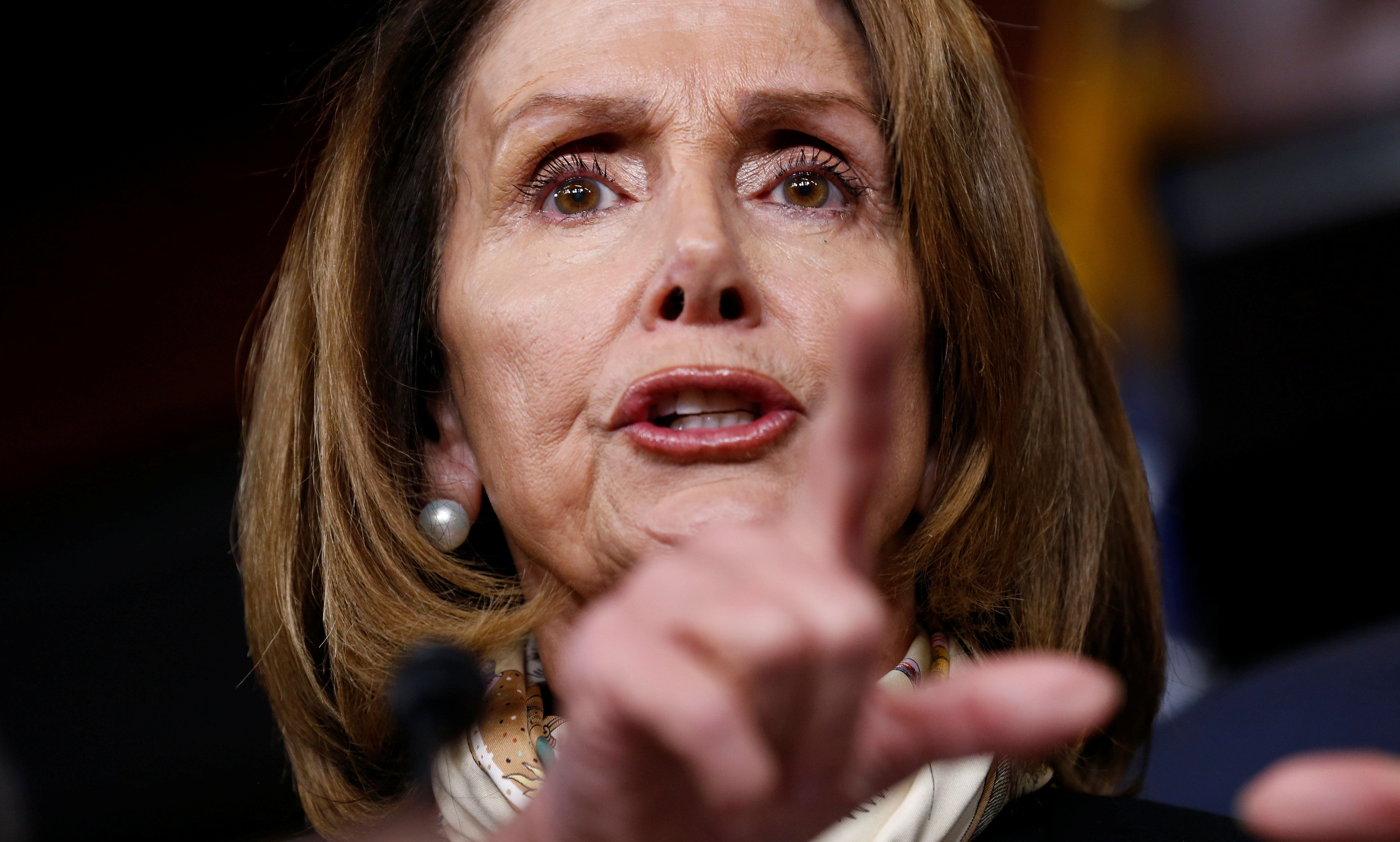 House Minority Leader Nancy Pelosi (D-CA) speaks during a news conference after President Donald Trump and the U.S. Congress failed to reach a deal on funding for federal agencies on Capitol Hill in Washington, U.S., January 20, 2018.  REUTERS/Joshua Roberts