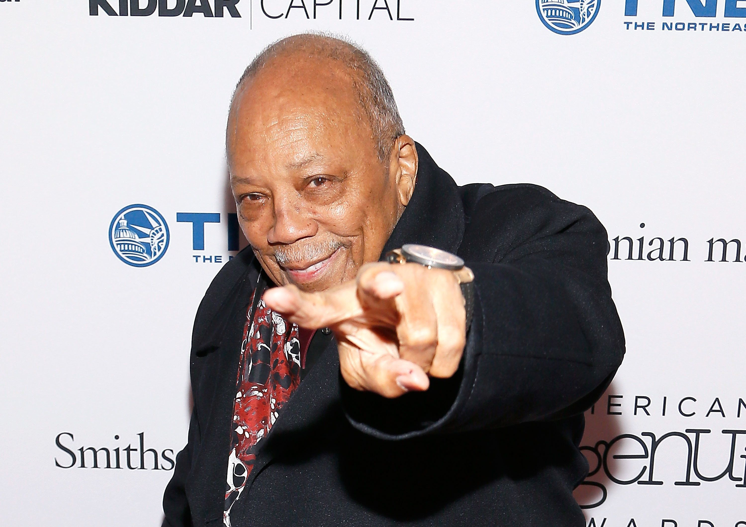 WASHINGTON, DC - NOVEMBER 29:  Quincy Jones attends the Smithsonian Magazine's 2017 American Ingenuity Awards at the National Portrait Gallery on November 29, 2017 in Washington, DC.  (Photo by Paul Morigi/Getty Images)