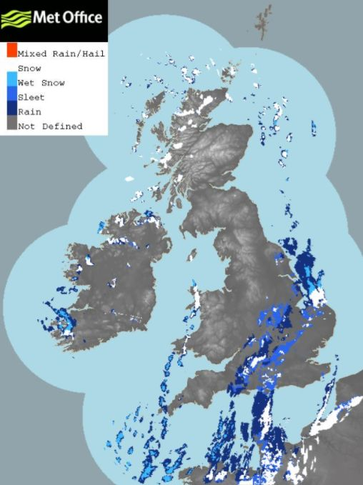 A Met Office radar image showing different types of precipitation across the UK such as rain, sleet,...