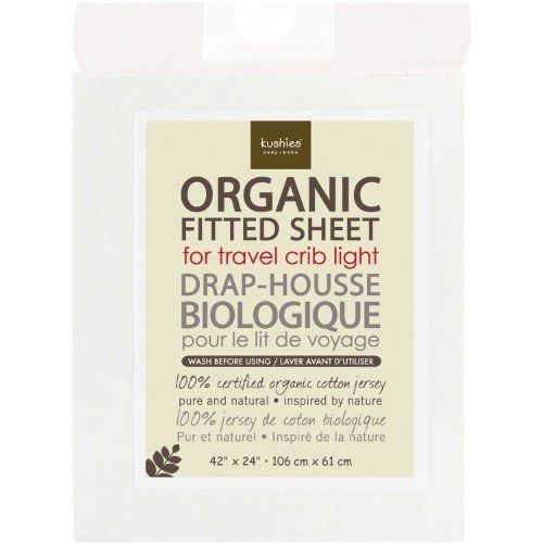 """Get it at <a href=""""https://jet.com/product/Kushies-Organic-Jersey-Fitted-Travel-Crib-Sheet-White/a8073cae2cfb414f8f63e7a4d0f0"""