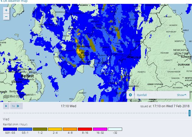 A radar map available on the public Met Office