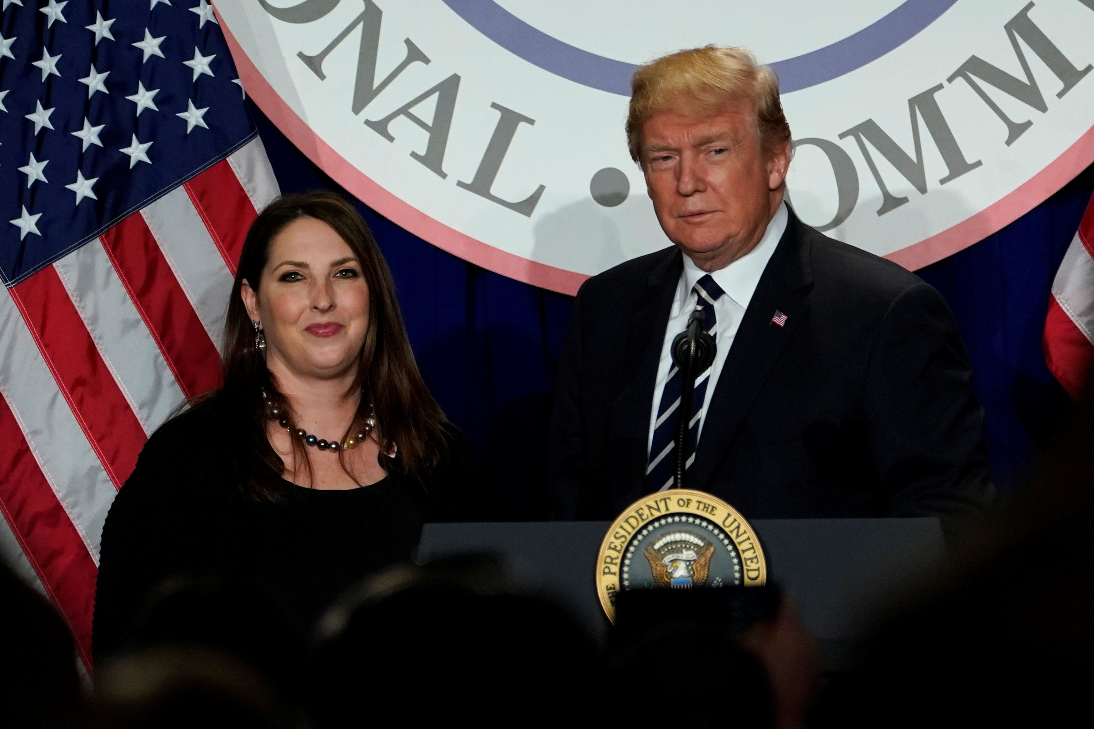 RNC chairwoman Ronna Romney McDaniel (left) introducing President Donald Trump (right) at the Republican National Committee's