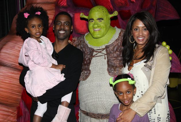Chris Rock and Malaak Compton-Rock visit Shrek backstage with their daughters on March 8, 2009...