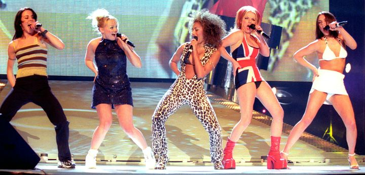 A shot of the group performing at the Brit Awards on Feb. 24, 1997.