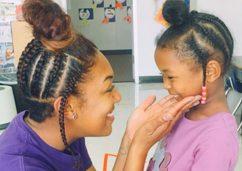 Pre-K teacher Leigh Bishop made her student smile by surprising her with an identical 'do.