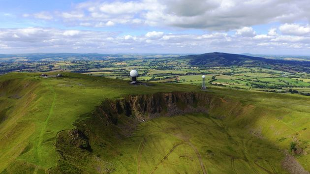 The radar station on Titterstone Clee Hill in the Shropshire Hills Area of Natural