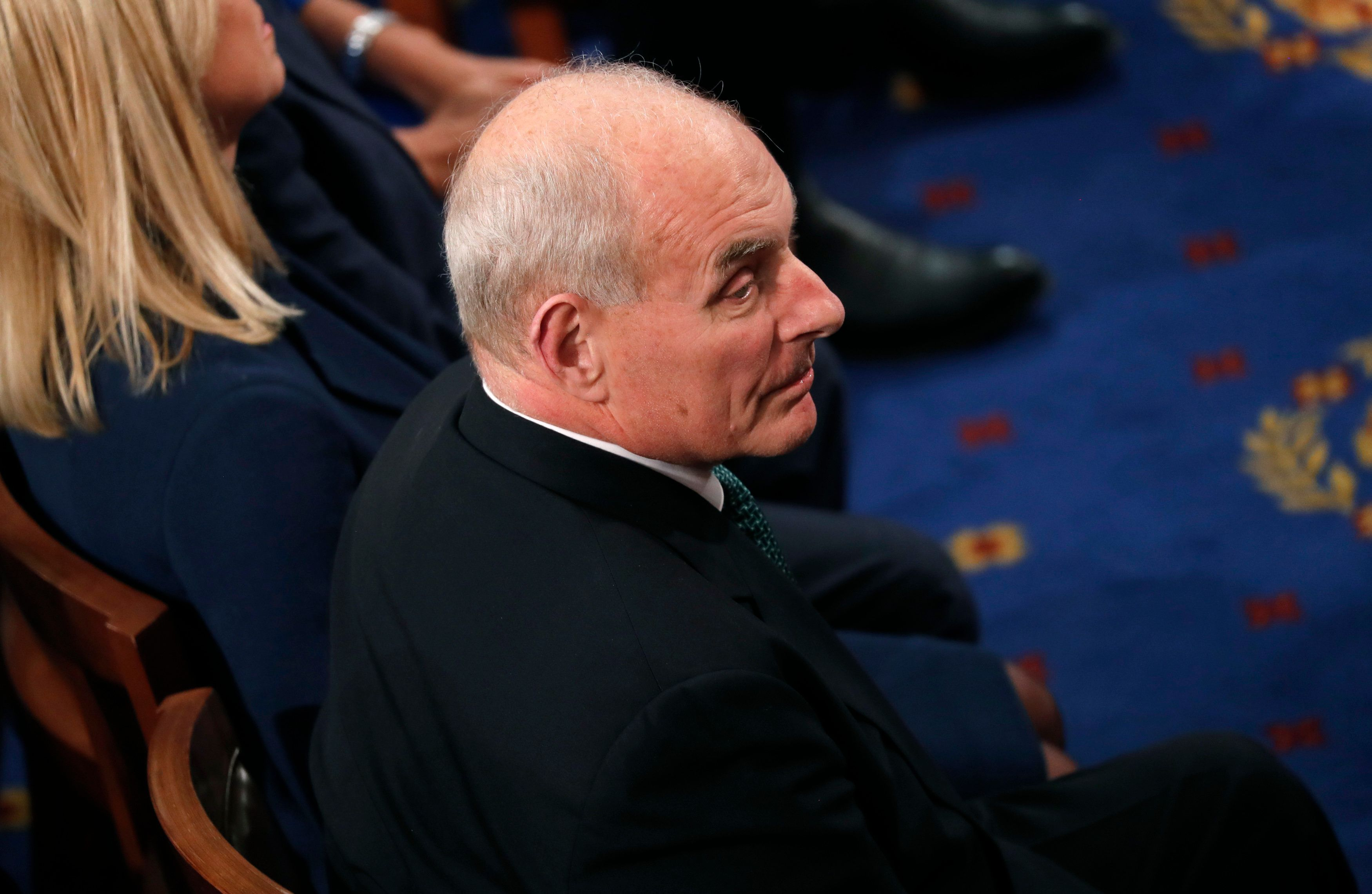 Chief of Staff General John Kelly listens as U.S. President Donald Trump delivers his State of the Union address to a joint session of the U.S. Congress on Capitol Hill in Washington, U.S. January 30, 2018. REUTERS/Jonathan Ernst
