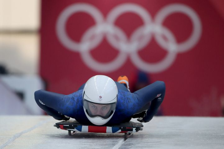 British athlete Laura Deas during a women's skeleton training run in Pyeongchang ahead of the opening of the 2018 Winter Olympics.