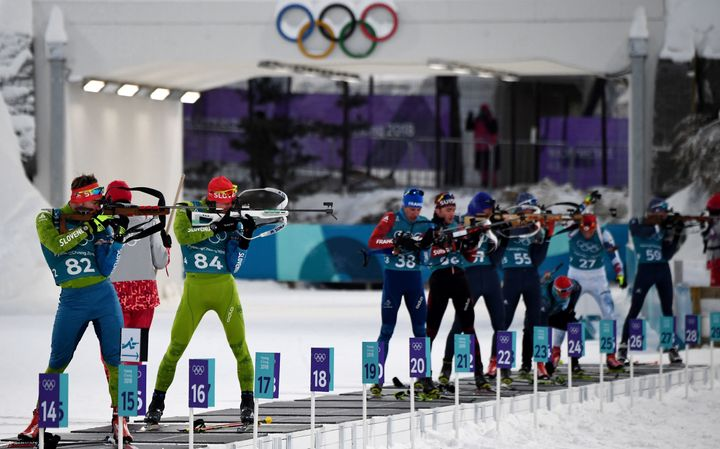 Biathletes at a practice session in Pyeonchang.