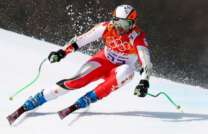 Jan Hudec of Canada skis during the men's alpine skiing Super-G competition at the 2014 Winter Olympics in Sochi, Russia.