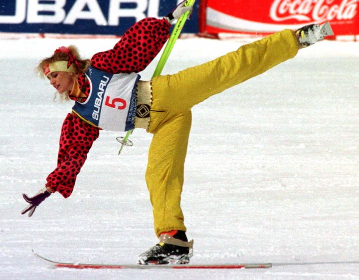 Oksana Kushenko of Russia performing in the ski ballet competition at the 1997 FIS Freestyle Ski World Championships in Nagano, Japan.