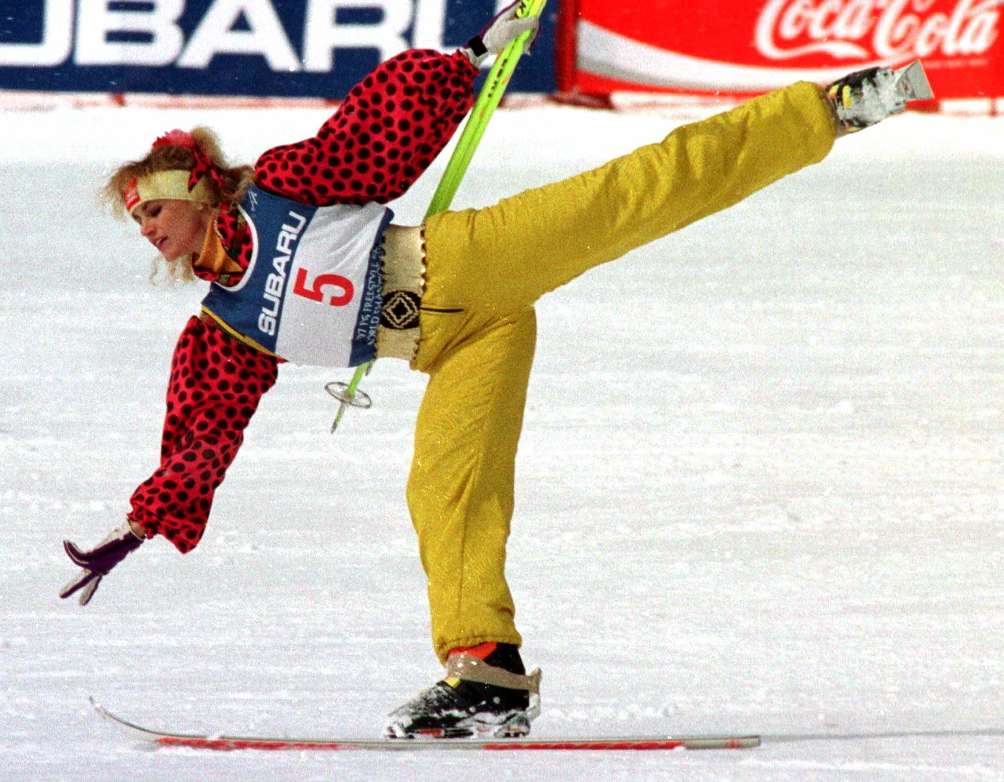 Oksana Kushenko of Russia performing in the ski ballet competition at the 1997 FIS Freestyle Ski World Championships in