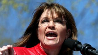 BOSTON, MA - APRIL 14:  Sarah Palin is a guest speaker at a Tea Party rally. The Tea Party Express ended their cross-country tour in Boston where thousands rallied on Boston Common. The populist Tea Party Movement promotes fiscal conservatism and emerged largely in response to the 2009 economic stimulus package and the 2008 bailouts. (Photo by Melanie Stetson Freeman/The Christian Science Monitor/Getty Images)