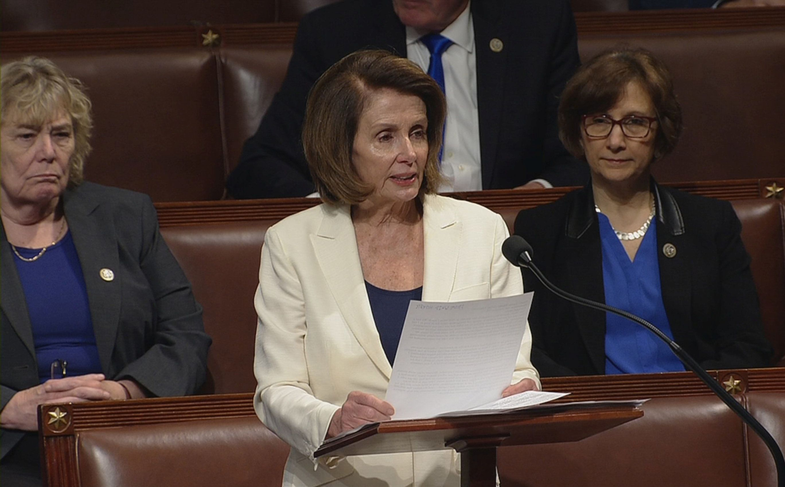 Pelosi spoke for over seven hours on the House floor on Wednesday.
