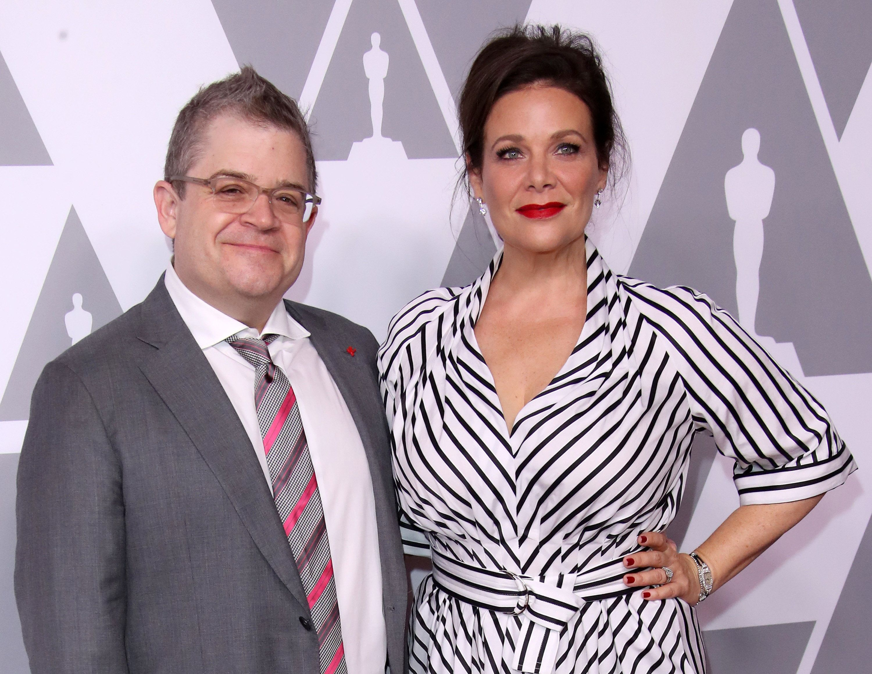 BEVERLY HILLS, CA - FEBRUARY 5: Actors Patton Oswalt (L) and Meredith Salenger attend the 90th Annual Academy Awards Nominee Luncheon at The Beverly Hilton Hotel on February 5, 2018 in Beverly Hills, California. (Photo by Dan MacMedan/Getty Images)