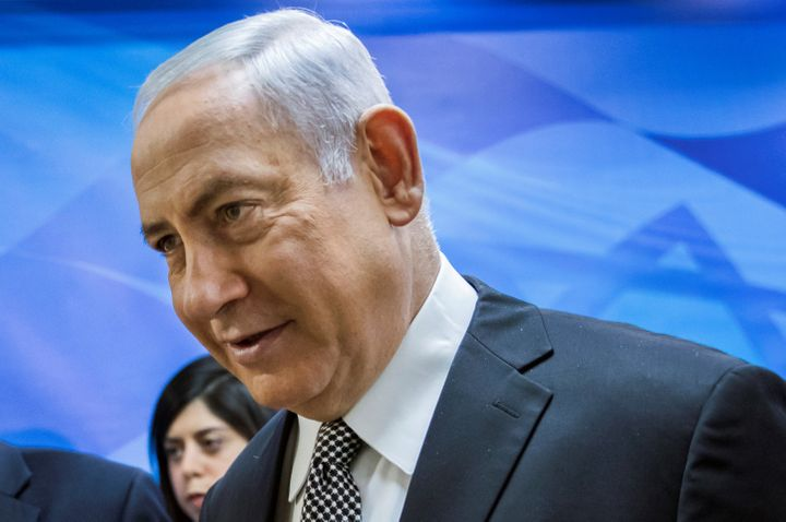 Israeli Prime Minister Benjamin Netanyahu enters the weekly Cabinet meeting in Jerusalem on Sunday.