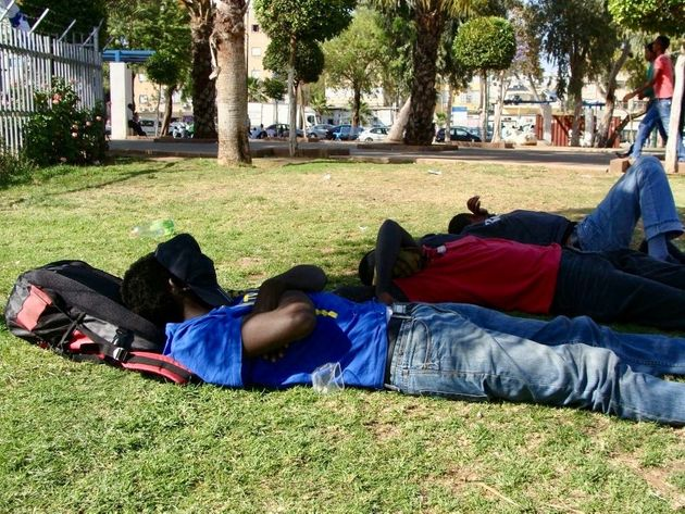 African asylum seekers sleep in a Tel Aviv park in