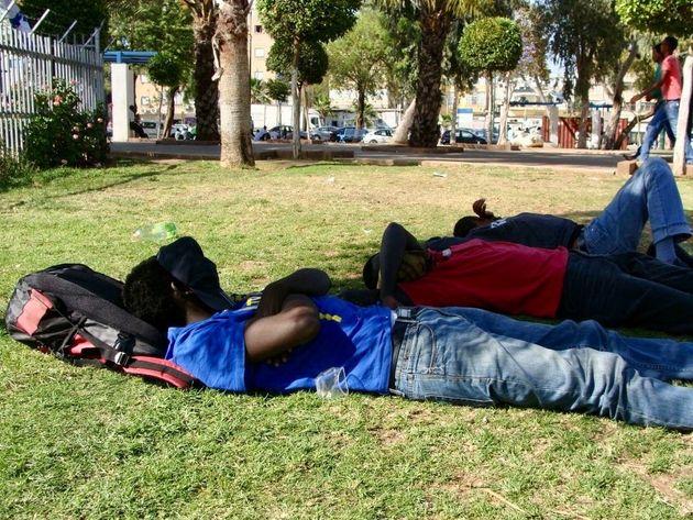 African asylum seekers sleep in a Tel Aviv park in 2012