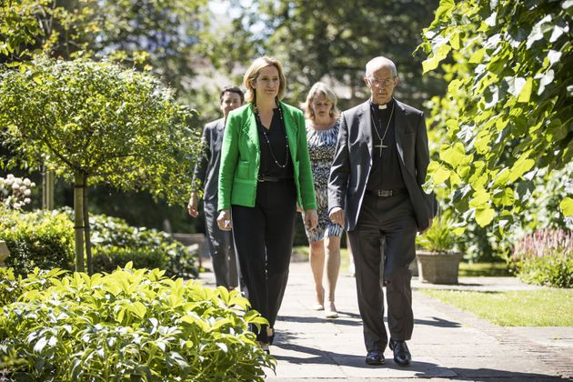 Home Secretary Amber Rudd and the Archbishop of Canterbury, Justin Welby, who famously housed a family...