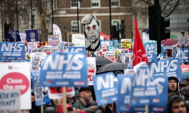 Thousands protested against NHS cuts in London on