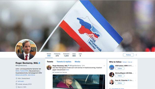 Roger Beckamp hat sein Twitter-Bild angepasst: Nun prangt dort eine Flagge der Krim mit der Silhouetteder...