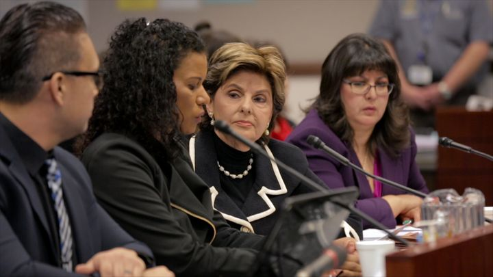 """Gloria Allred at one of her press conferences in """"Seeing Allred."""""""