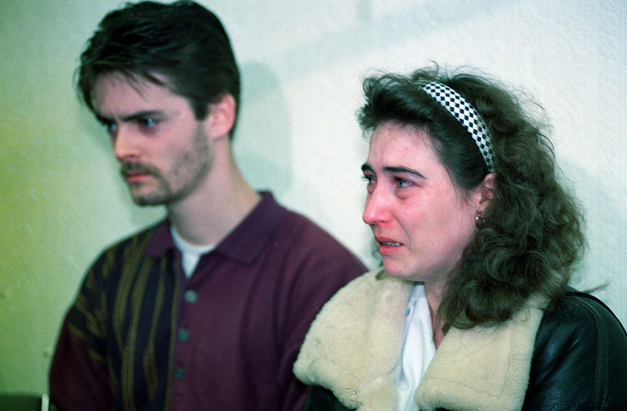 <strong>Denise and Ralph Bulger at a police press conference shortly before their son's body was found</strong>