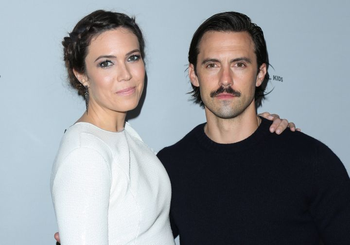 Moore and Milo Ventimiglia attend NBCUniversal's press junket at Beauty & Essex on Nov. 13, 2017, in Los Angeles.