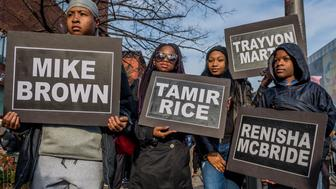 HARLEM, NEW YORK, UNITED STATES - 2017/12/02: Students from South Bronx Community Charter High School with help from community leaders gathered at the Schomburg Center for Research in Black Culture in Harlem and led the second annual Future of the City March against police brutality on December 2, 2017; marching with students from other New York City schools against police brutality and the unjust treatment of people of color. (Photo by Erik McGregor/Pacific Press/LightRocket via Getty Images)