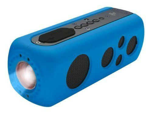 This portable speaker is bluetooth-compatible, waterproof, has a rechargeable battery,AND has a built-in flashlight. Wh