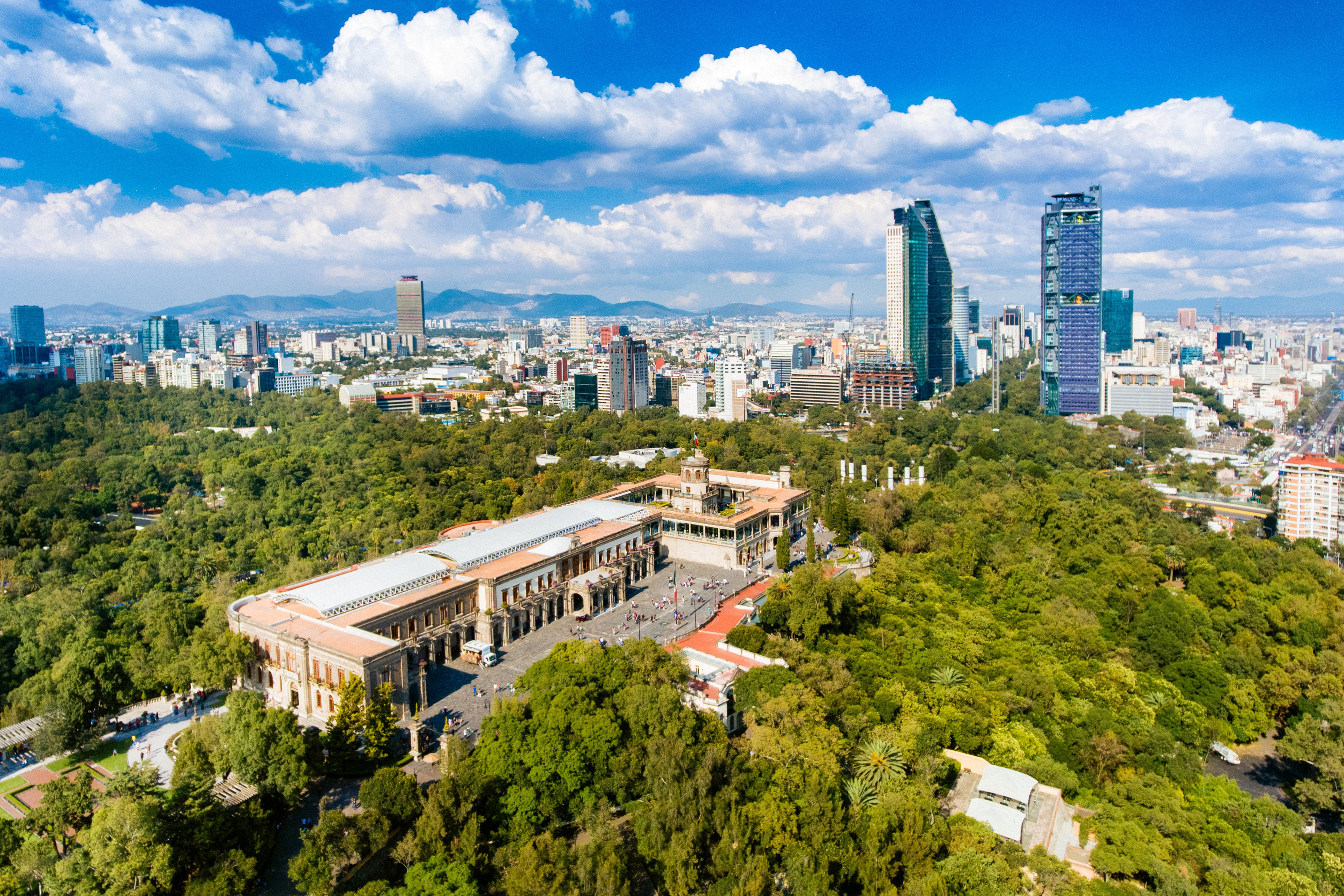 Chapultepec Castle with Mexico City's skyline in the