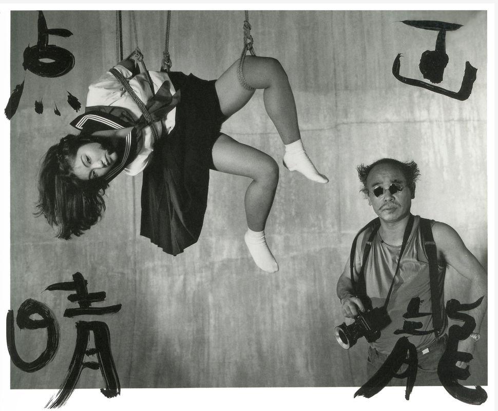 """Nobuyoshi Araki, """"Marvelous Tales of Black Ink,""""2007. Sumi ink on black and white photograph."""