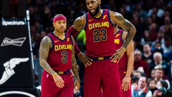 CLEVELAND, OH - JANUARY 2: Isaiah Thomas #3 listens to LeBron James #23 of the Cleveland Cavaliers during the first half against the Portland Trail Blazers at Quicken Loans Arena on January 2, 2018 in Cleveland, Ohio. NOTE TO USER: User expressly acknowledges and agrees that, by downloading and or using this photograph, User is consenting to the terms and conditions of the Getty Images License Agreement. (Photo by Jason Miller/Getty Images)