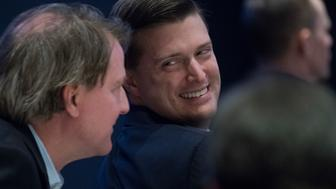 UNITED STATES - FEBRUARY 01: Rob Porter, right, White House staff secretary, and Don McGahn, White House counsel, attend a luncheon featuring a speech by President Donald Trump at the House and Senate Republican retreat at The Greenbrier resort in White Sulphur Springs, W.Va., on February 1, 2018. (Photo By Tom Williams/CQ Roll Call)