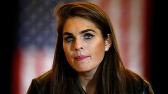 Hope Hicks, communication director for U.S. Republican presidential candidate Donald Trump is pictured following a news conference at Trump Tower in the Manhattan borough of New York, U.S., May 31, 2016. REUTERS/Carlo Allegri
