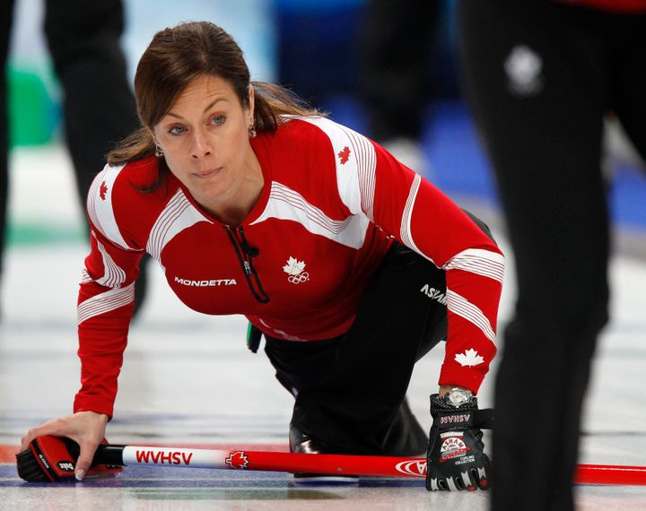 Cheryl Bernard of Canada watches her shot during the women's round robin curling event against Britain at the Vancouver