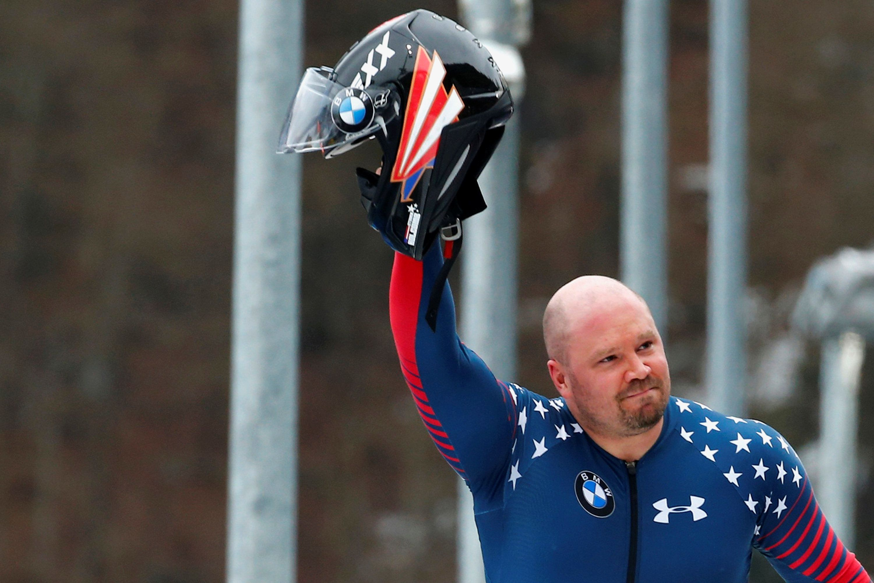 FILE PHOTO: Bobsleigh - BMW IBSF Bob & Skeleton World Championships - 4-men final race - Koenigssee, Germany - 26/2/17 - Pilot Steven Holcomb of the USA reacts.      REUTERS/Arnd Wiegmann/File Photo