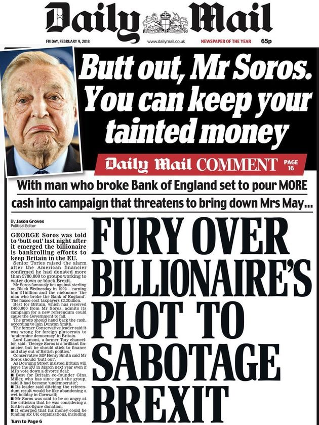 The Daily Mail attacked Best for Britain on its front page on