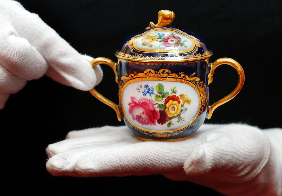 One of a pair of Meissen chocolate pots, circa 1870, given to the then Princess Elizabeth and Prince Philip by Pope Pius XII as a gift for their wedding on 20 November 1947