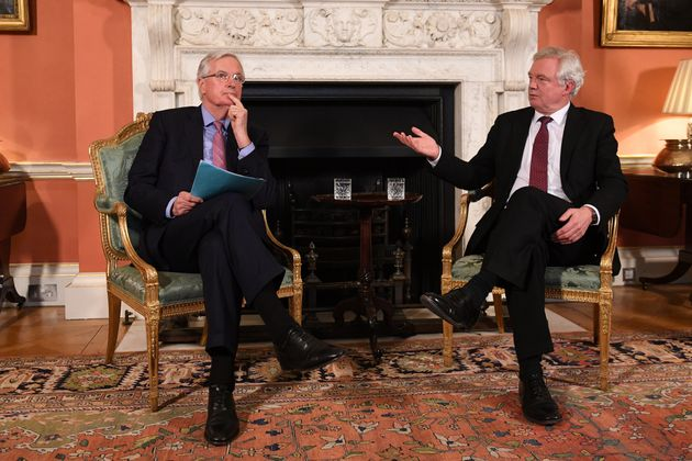 David Davis and the European Union's chief Brexit negotiator, Michel Barnier, speak inside 10 Downing...