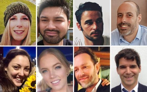Victims: Top row left to right, Christine Archibald, James McMullan, Alexandre Pigeard, Sebastien Belanger,...