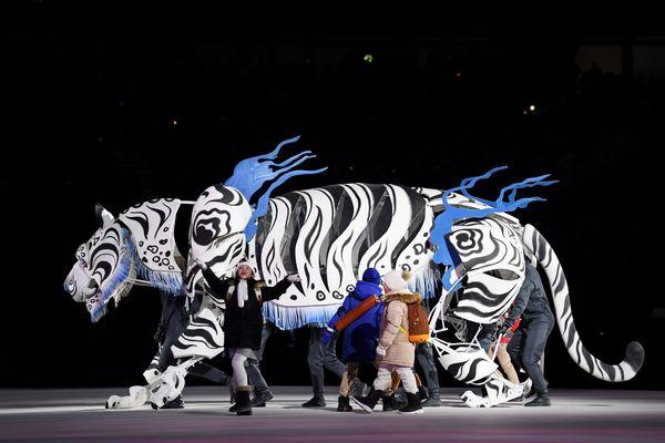 A tiger on stilts.