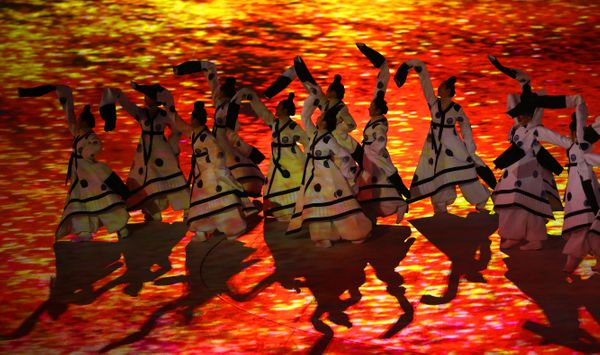 """Dancers perform """"The Land of Peace"""" segment."""
