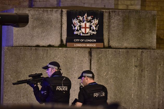 Armed police officers on London Bridge during the terror attack in