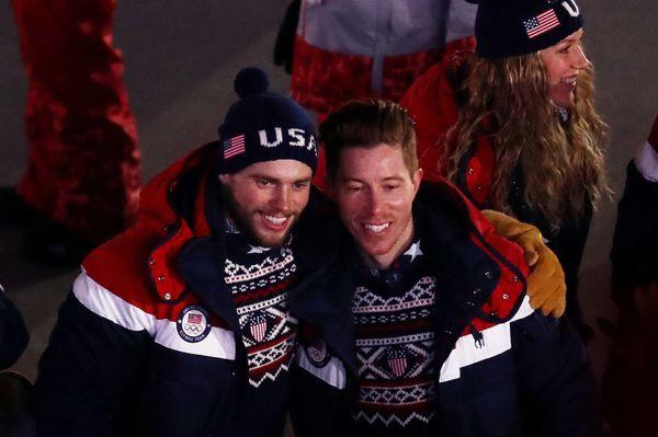 Snowboarder Shaun White and freestyle skiier Gus Kenworthy ofTeam USA.