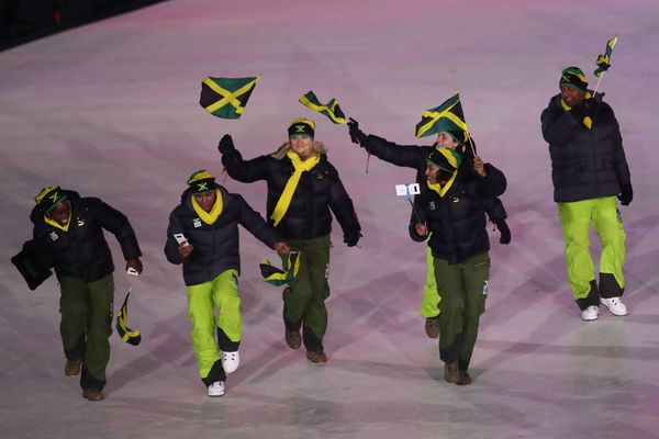 The Jamaican bobsled team made a grand entrance, dancing as they went.