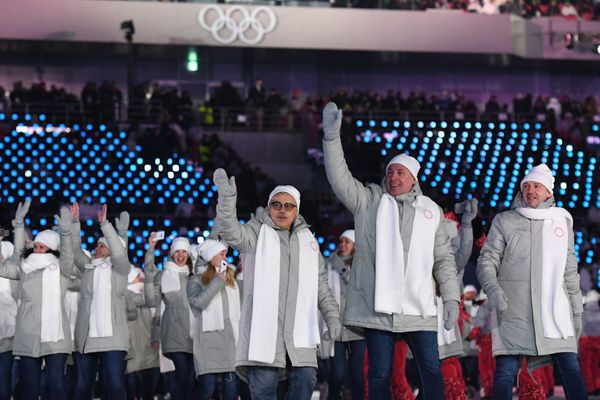 Olympic athletes from Russia's (OAR) parade during the opening ceremony. Banned from participating as representatives of Russ