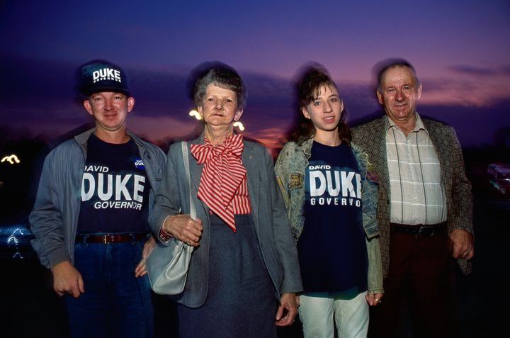 Supporters of former Ku Klux Klan grand wizard David Duke are seen in an undated photo. Duke ran for governor of Louisiana in